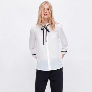 NWT Zara blouse with tie SZ L in Women